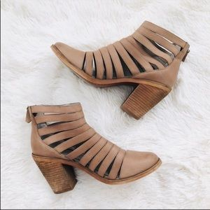 Hinge Beige Leather Cut Out Cage Ankle Booties 36